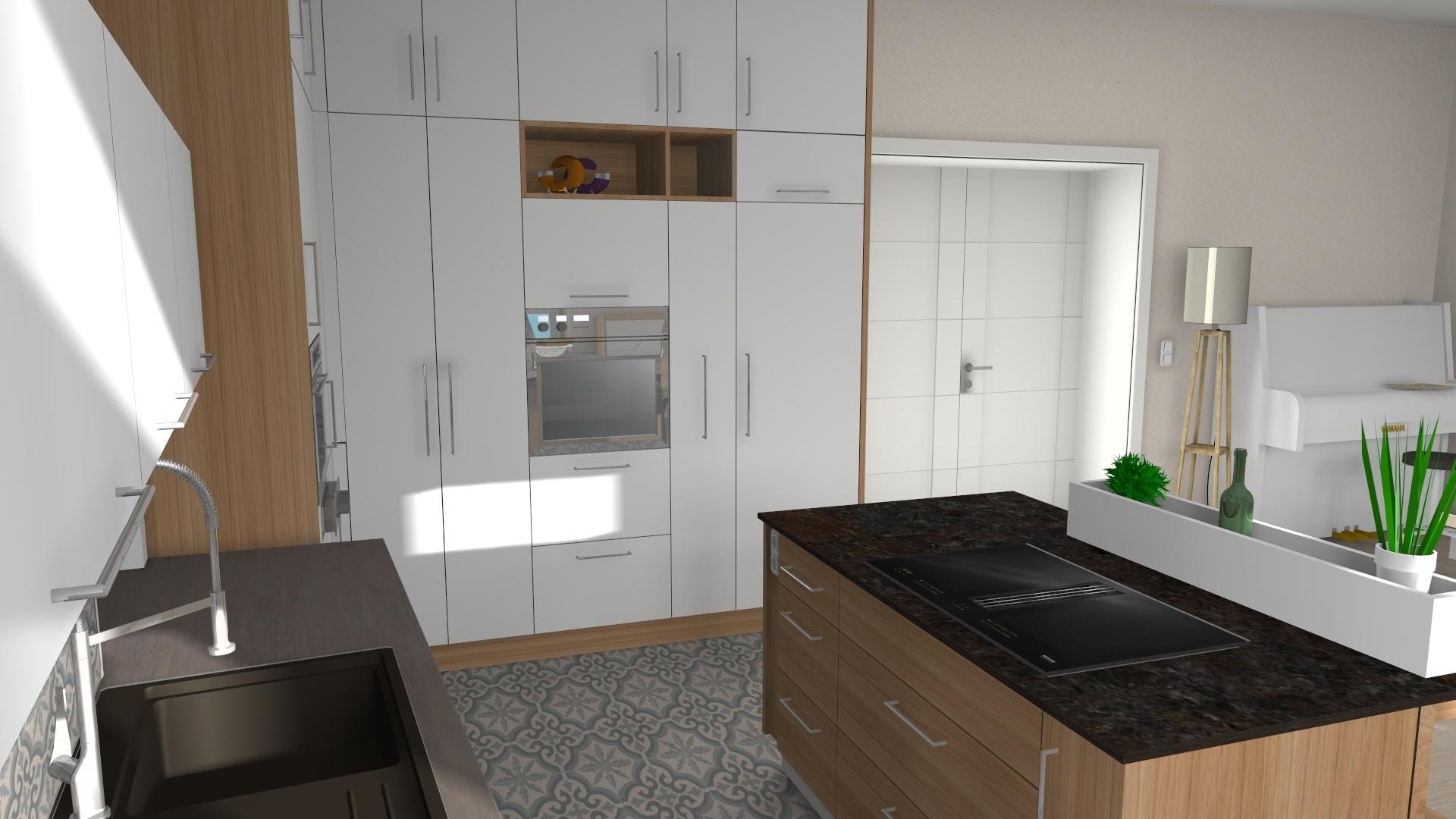 Holzküche Mit Kochinsel